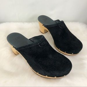 Ugg Black Suede Abbie Clogs Mules Size 6